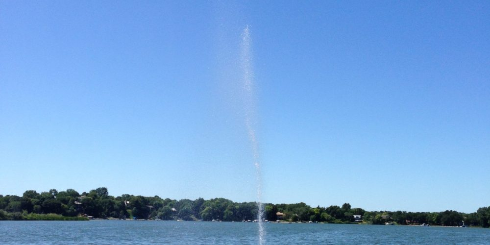 Single Nozzle Fountain on Lake