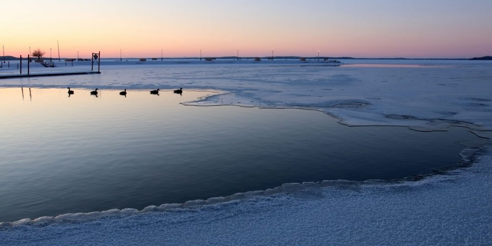 Winter,Evening,Landscape,With,After,Sunset,Sky,Reflects,In,The