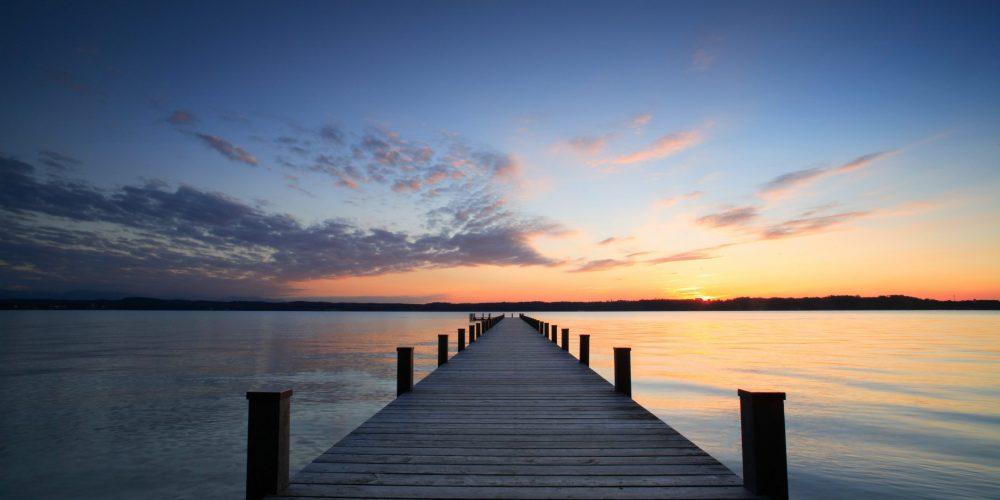 Lake,At,Sunset,,Long,Wooden,Pier